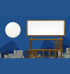 Wooden billboard banner in city view vector