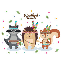 Woodland animals with feather crown vector