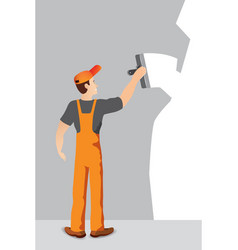 worker with spatula and plaster vector image vector image