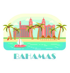Yacht at ocean and beach of bahamas vector