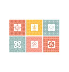 yoga studio logo set creative design element vector image