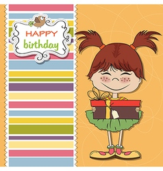 Young girl with gift vector