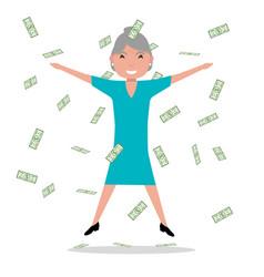 cartoon grandmother jumping falling money vector image