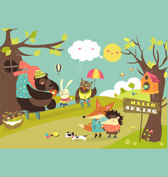 cute animals walking in spring forest vector image
