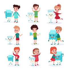 cute little kids playing and having fun with happy vector image