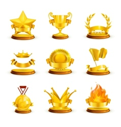 Gold awards set vector image vector image