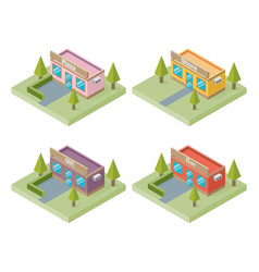set of buildings bar store pizza cafe isometric vector image