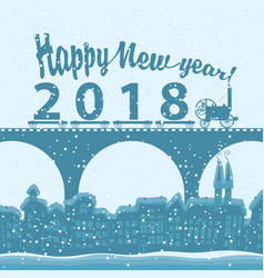 winter landscape with words happy new year 2018 vector image