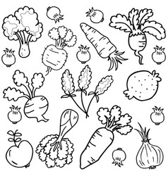 art of vegetable set doodles vector image vector image
