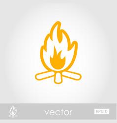 Bonfire outline icon summer vacation vector