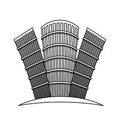 figure buildings line sticker design vector image vector image