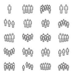 human crowd symbols people group line vector image