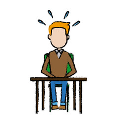 man avatar sitting with desk surprise expression vector image