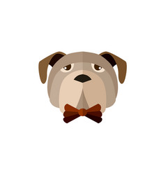 pug head icon in flat design vector image