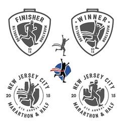 Set of vintage marathon labels and design elements vector image vector image
