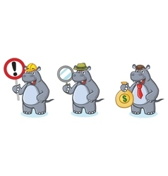 Gray Hippo Mascot with money vector image