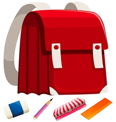 Schoolbag and other stationaries vector image