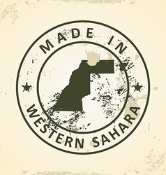 Stamp with map of western sahara vector