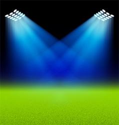 Bright spotlights illuminated green field stadium vector image vector image
