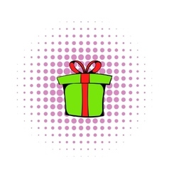 Green gift box icon comics style vector image vector image