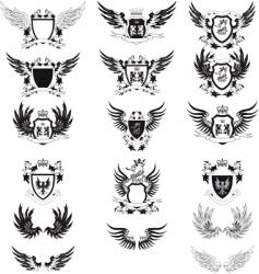 set of 12 grunge shields vector image vector image