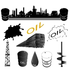 Set oil industry facilities vector image vector image