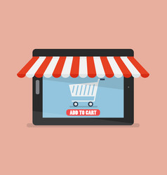 shopping online by tablet vector image vector image