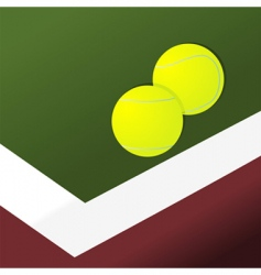 tennis balls on court vector image vector image