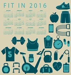 2016 Fitness calendar vector