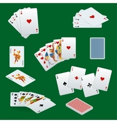 A royal straight flush playing cards poker hand vector