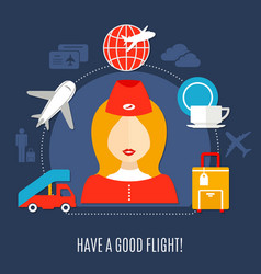 Airlines flight service flat poster vector