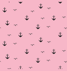 anchor marine pink seamless pattern vector image