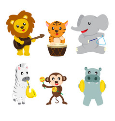 Animals playing music vector