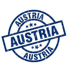 Austria blue round grunge stamp vector