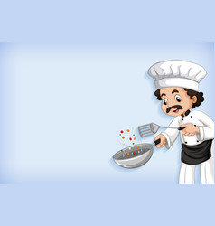 Background template design with happy chef cooking vector