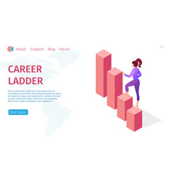 Banner career ladder and growth for modern woman vector
