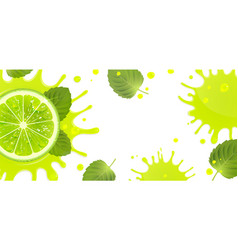 Banner with lime and splash juice vector
