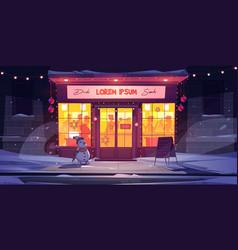 bar at winter night cafe drinking establishment vector image