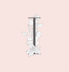blooming floral elegant i monogram and logo vector image