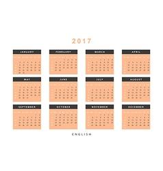 Calendar 2017 year simple style vector image