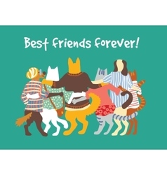 Cats and dogs pets group animal friends friendship vector image