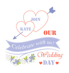 Celebrate with us our wedding day festive poster vector