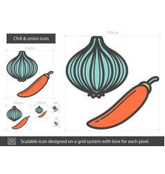 Chili and onion line icon vector