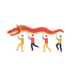 Chinese men dancing while holding red dragon vector