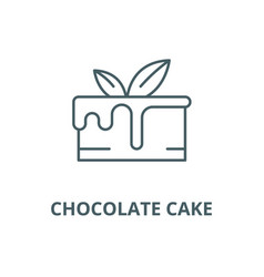 chocolate cake line icon chocolate cake vector image
