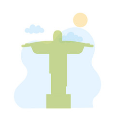 christ redeemer corcovado landmark skyline vector image