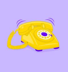 Classic of yellow phone vector