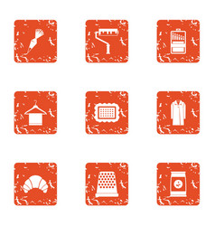 Clean sweep icons set grunge style vector