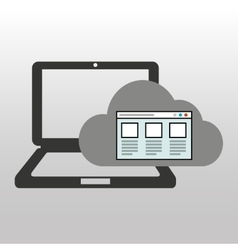 Cloud computer connected web page vector