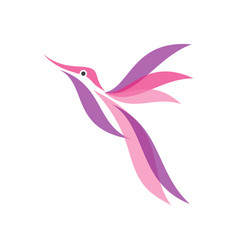 colorful hummingbird icon in modern flat style vector image